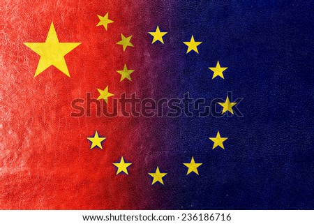 China and European Union Flag painted on leather texture - stock photo