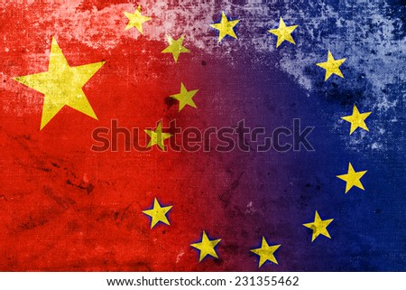 China and European Union Flag with a vintage and old look - stock photo