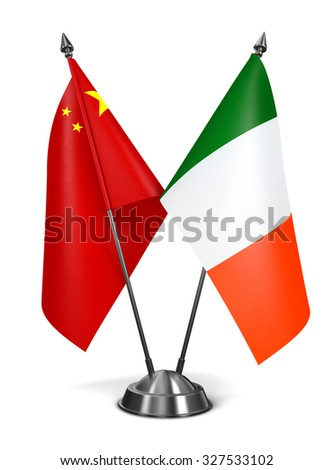 China and Ireland - Miniature Flags Isolated on White Background. - stock photo
