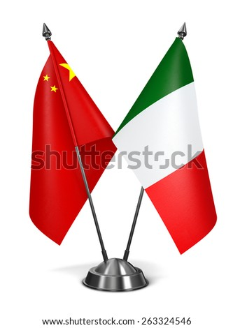 China and Italy - Miniature Flags Isolated on White Background. - stock photo