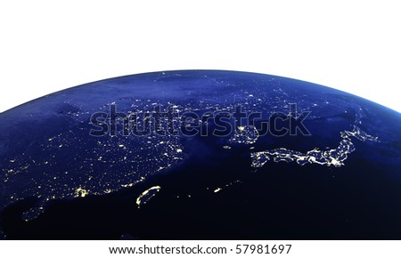 China and Japan on white. Maps from NASA imagery - stock photo