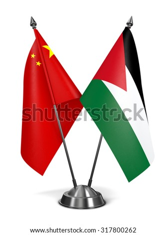 China and Jordan - Miniature Flags Isolated on White Background. - stock photo