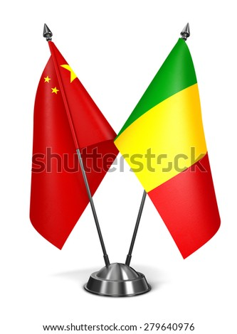 China and Mali - Miniature Flags Isolated on White Background. - stock photo