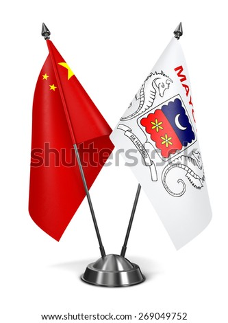 China and Mayotte - Miniature Flags Isolated on White Background. - stock photo