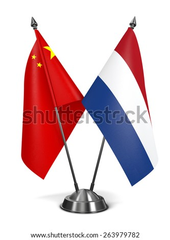 China and Netherlands - Miniature Flags Isolated on White Background. - stock photo