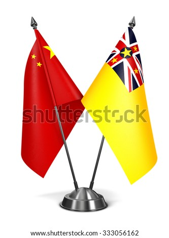 China and Niue - Miniature Flags Isolated on White Background. - stock photo