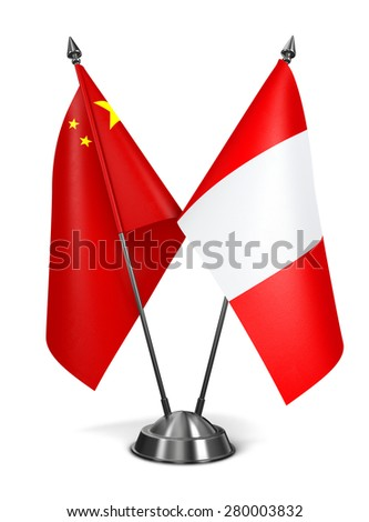 China and Peru - Miniature Flags Isolated on White Background. - stock photo