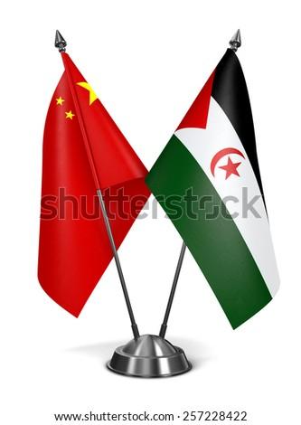 China and Sahrawi Arab Democratic Republic - Miniature Flags Isolated on White Background. - stock photo