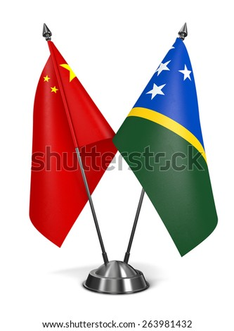 China and Solomon Islands - Miniature Flags Isolated on White Background. - stock photo