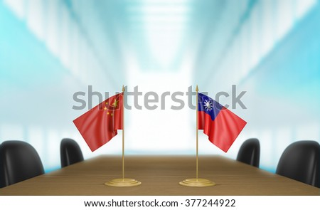 China and Taiwan relations and trade deal talks 3D rendering - stock photo