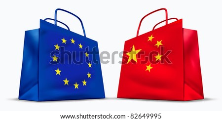 China and the European Union trade symbol represented by two shopping bags with the Chinese and the Europe flag showing the concept of trading goods and services in international business sales. - stock photo