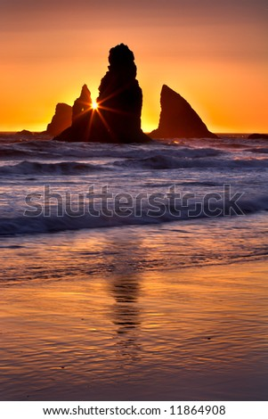China Beach Oregon at Sunset - stock photo