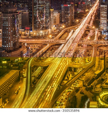 China� Beijing overpass� after� sunset� night - stock photo