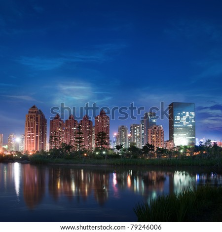 China city of Shenzhen at night
