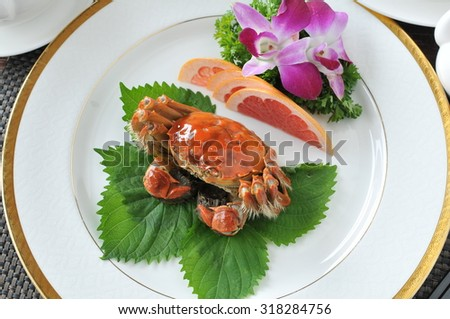 China delicious food Hairy crabs. crabs cuisine.   - stock photo