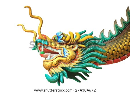 china dragon head and body statue in a shine isolated on white background