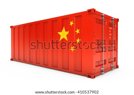 China Export Concept. Shipping Container with China Flag on a white background. 3d Rendering - stock photo