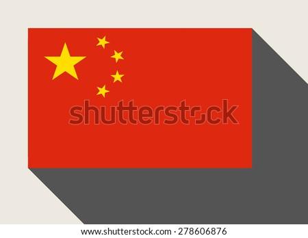 China flag in flat web design style. - stock photo