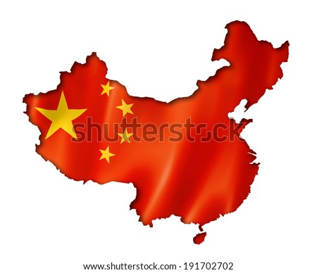 China flag map, three dimensional render, isolated on white - stock photo