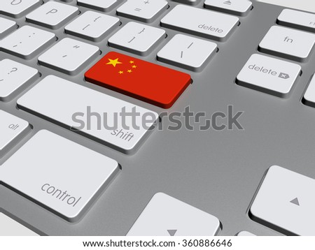 china flag on a computer keyboard, 3d illustration - stock photo