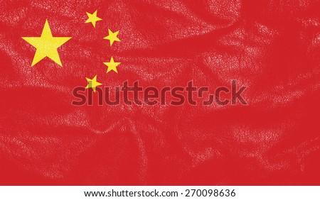 China flag on leather texture - world flag textured - stock photo