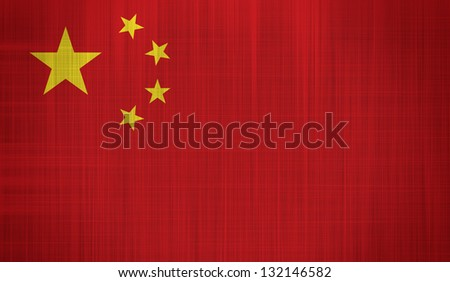 China Flag with a fabric texture - stock photo