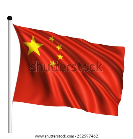 China flag with fabric structure on white background