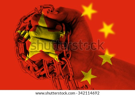 China Flag wrap with chain in hand.