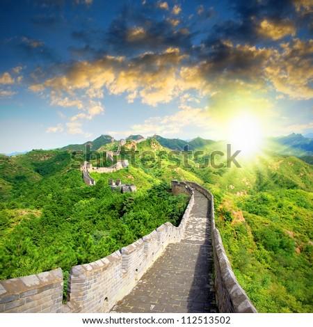 China Great Wall Sunshine - stock photo