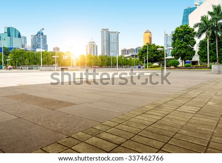 China Guangzhou City Plaza, built-up city center. - stock photo