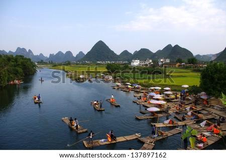 China Guilin rafting - stock photo
