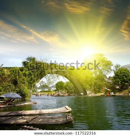 China Guilin Yangshuo Bridge Sunset - stock photo