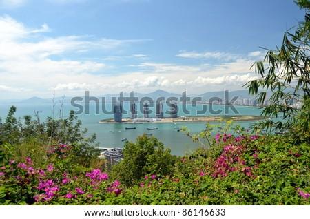 China Hainan island, city of Sanya aerial view, may 2011 - stock photo