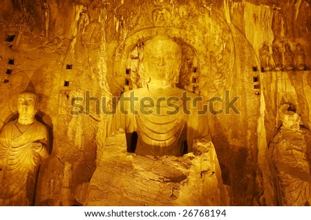 China/Henan:Stone carving of Longmen grottoes, Three buddhas