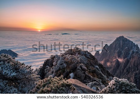 China Huangshan sea of clouds at sunrise
