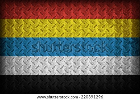 China in 1912-1928 flag pattern on the diamond metal plate texture ,vintage style - stock photo