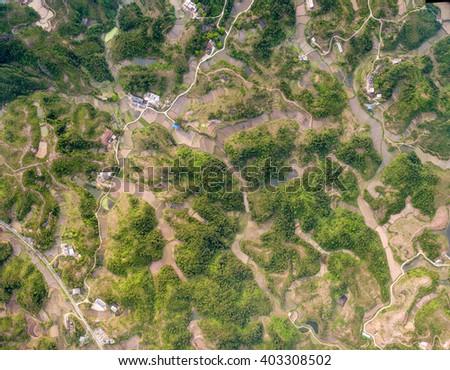China Jiangxi, overlooking the ground plane Figure - stock photo