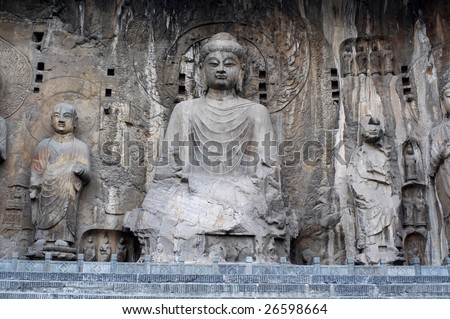 China/Luoyang:The buddha of Longmen Grottoes, which were created in the Northern Wei and Tang Dynasty - stock photo
