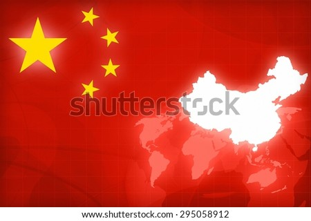 China Map and Flag on a world globe news background illustration - stock photo