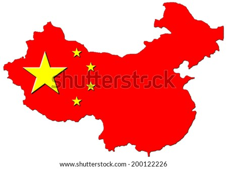 China map flag 3D