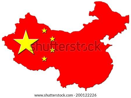 China map flag 3D - stock photo