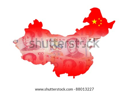 China Map made by Chinese Money (Yuan) currency - stock photo