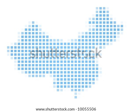 China map square mosaic. Easy to recolor. - stock photo