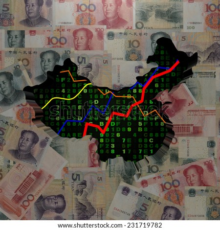 China map with hex code and graphs on Yuan illustration - stock photo