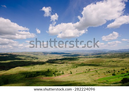 China northern grassland scenery in summer - stock photo