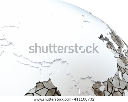China on metallic model of planet Earth. Shiny steel continents with embossed countries and oceans made of steel plates. 3D rendering. - stock photo