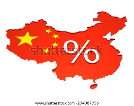 China percentage - Isolated map of the People Republic of China with the flag on it. A percentage sign is placed in the middle in 3D. - stock photo
