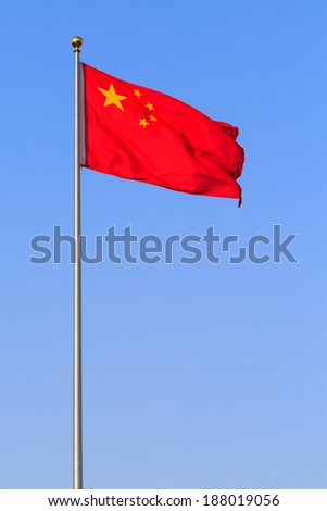 China red flag on blue sky background