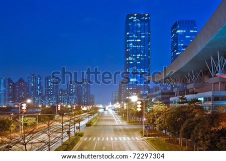 China's financial center of Shenzhen at night - stock photo