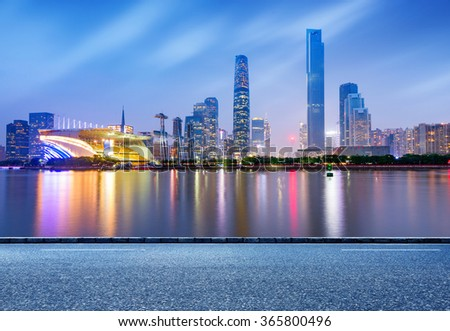 China's Financial District, Guangzhou Pearl River Night - stock photo